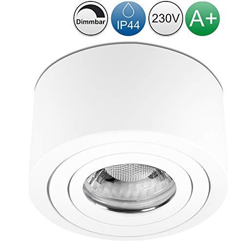 lambado® LED Aufbaustrahler IP44/Deckenstrahler Set inkl. 230V 5W Spots dimmbar - Wasserschutz für Bad & Außen - runde Aufbauleuchte für Feuchtraum in weiss