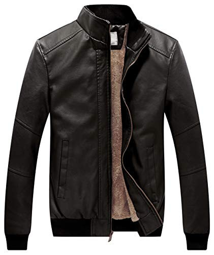 WenVen Men's Stand Collar Faux Leather Motorcycle Warm Jacket Grey S
