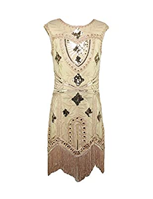 AMJM Mommy and me 1920s Vintage Flapper Fringe Beaded Great Gatsby Party Dress