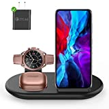 3 in 1 Wireless Charging Station, Qi Wireless Fast Charger Pad Compatible with Samsung Galaxy S20/S10/S9/S8, Galaxy Watch/Buds/Active, 10W Charging Dock for Phone SE/11/XS/X/Air Pods