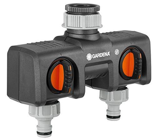 Gardena Distribuidor 2 vías para el Funcionamiento de 2 aparatos de conexión. Regulación y Cierre del caudal de Agua, Negro/Naranja, 10 X 10 X 5 cm