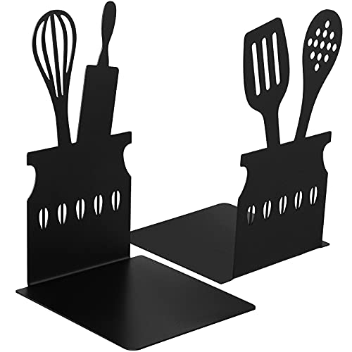 Black Kitchen Bookends 5.9 x 3.9 x 3.9 Inch Spoon Decorative Cookbook Metal Book Ends with Non-Slip Mat Metal Cookbook Storage Books Stoppers Metal Kitchen Cookbook Holder for Shelves Kitchen Book