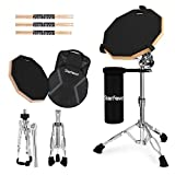 Starfavor Drum Practice Pad with Snare Drum Stand Set, 12-Inch Double Sided Silent Practice Pad Kit with Drum Sticks, Drumstick Holder, Carrying Bag, Black
