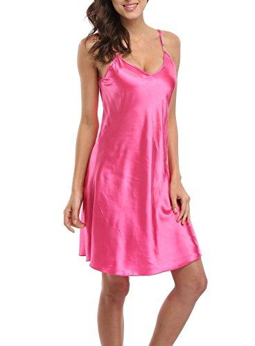 Old-to-new Women's Sexy Lingerie Spaghetti Strap Nightgown Satin Sleepwear Chemises Full Slip Nightdress Plus Size Rose M