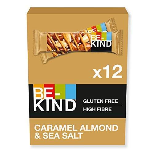 BE-KIND Barretta al Gusto di Mandorle Caramellate e Sale Marino, Snack senza Glutine, 1 Confezione x 12 Barrette da 40 g