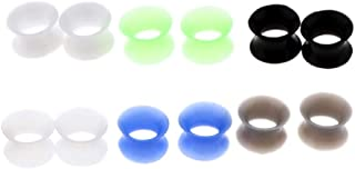 Baosity 6 Pairs Silicone Ear Gauges Flesh Tunnel Plugs Stretcher Expander 8mm - 20mm