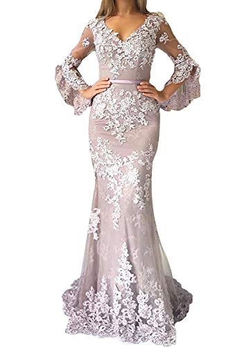 Promworld Lace Applique Double V Neck Mermaid Prom Dress Flare Sleeve Evening Gowns for Women Formal Dusty Lavender US6