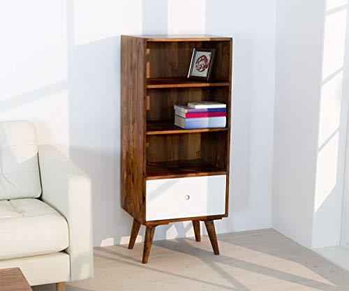 AISER Royal Massives Echt-Holz Palisander Bücher-Regal -Namutoni- aus besonders schön gezeichnetem Sheesham-Holz mit 3 Fächern und 1 Schublade in modernem zeitlosen Design | Höhe 123 cm