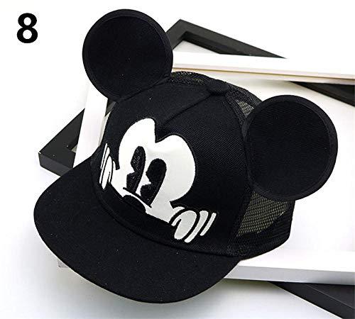 Gbksmm Mode Cartoon Kinder Hut Junge Und Mädchen Baseball Caps Nette Maus Mickey Baseball Hut Mit Ohren Flache Baseball Cap Baby Reisehüte-8_Einstellbar_4-8 Jahre