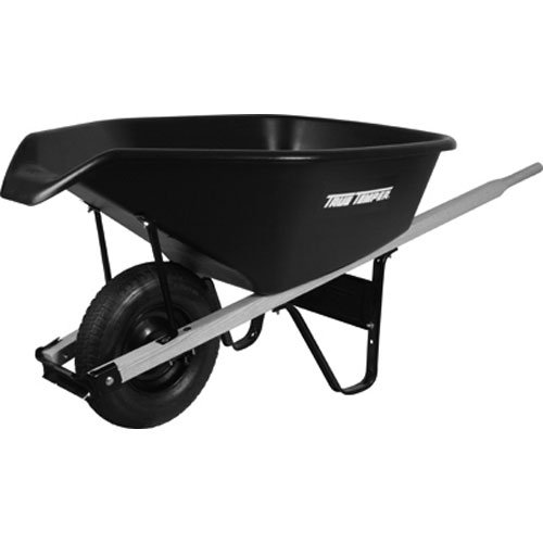 AMES CP6PS Poly Wheelbarrow, 6 Cubic Feet, Black
