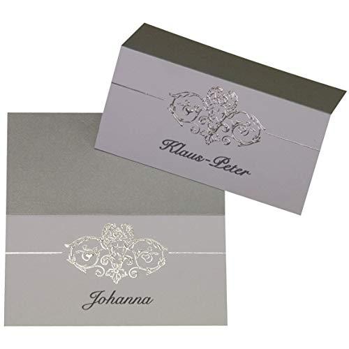 Mypaperset 20 Platzkartentischkarten Mit Motiv Aus Silberfolie Herzen Ranke Zur Hochzeit Jubiäum Zum Selberbedrucken