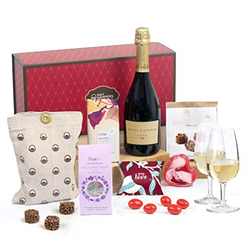 Hay Hampers Happy Birthday Label Prosecco & Chocolate Treats Gift For Her Hamper Box