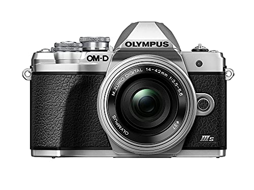 Kit fotocamera Olympus OM-D E-M10 Mark III S, sensore da 16 MP, schermo LCD inclinabile HD, 4K, Wi-Fi, mirino elettronico, argento incl. M.Zuiko Digital ED 14-42mm EZ, argento