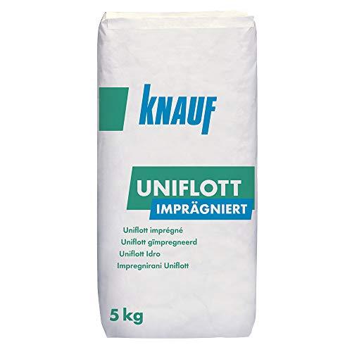 Knauf Uniflott imprägniert Gipsspachtel-Masse zum Verspachteln von imprägnierten Gipsplatten mit HRK bzw. HRAK ohne Fugen-Deckstreifen, 5 kg – Spezial-Gips, wasser-abweisende Spachtel-Masse