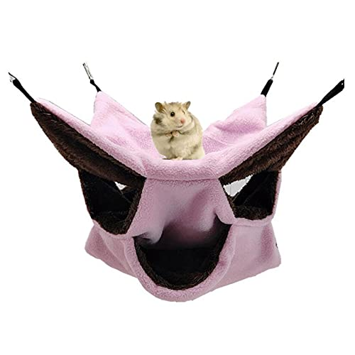 Kleine Haustierkäfig-Hängematte Dreischichtige Haustier-Hängematte Fleece-Käfig Hängende Hängematte Sugar Glider Hängemattenbett für Chinchilla-Papagei -Frettchen-Eichhörnchen-Hamster-Ratte (Pink)