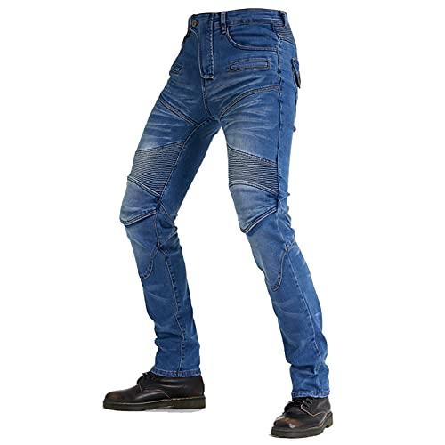 KAISUN Hombres Motocicleta Pantalones con 4 Almohadillas Protectoras Desmontables, Pantalones de Carreras Estilo Casual Resistentes a Roturas (Azul,M)