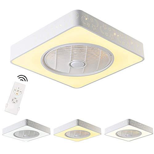 SXYYY plafondventilator met ledlamp, 40 W, creatief, onzichtbaar, voor kinderkamer – met afstandsbediening, moderne plafondlamp voor woonkamer, vierkant en rond, optioneel (wit)