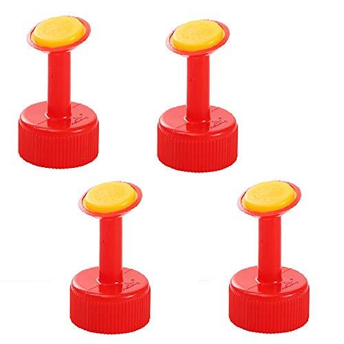 AM-Clearance - 4 cime per irrigazione in plastica, per bottiglie di plastica, con tappo di irrigazione, per innaffiatori, per piante in vaso (rosso)