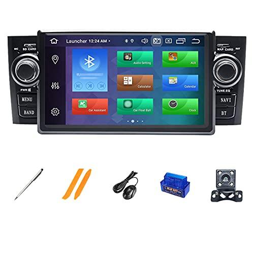 HAZYJT 1 DIN Android 10.0 7 Pulgadas Radio Coche Pantalla Táctil Car Navigation Compatible con Fiat Grande Punto Linea 2007-2012 4g/WiFi/GPS/Bluetooth/RDS/USB/FM