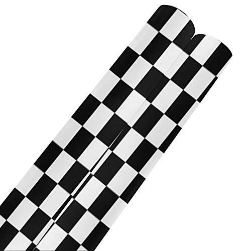 Papel para envolver regalos con bandera de carreras a cuadros en blanco y negro, 58 x 23 pulgadas, 2 rollos, papel de seda, para envolver, regalo para el día de la madre, Pascua, bodas, cumpleaños o