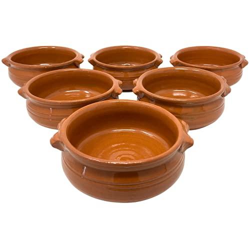 NAMAI Set 6 Tegami Terracotta in Terra rossa, Tegamini in Terracotta da Forno Gas con Due Manici, Ciotole in Terracotta Misura 14 cm di Diametro e 5,5 cm di Altezza, Artigianale, Marroncino