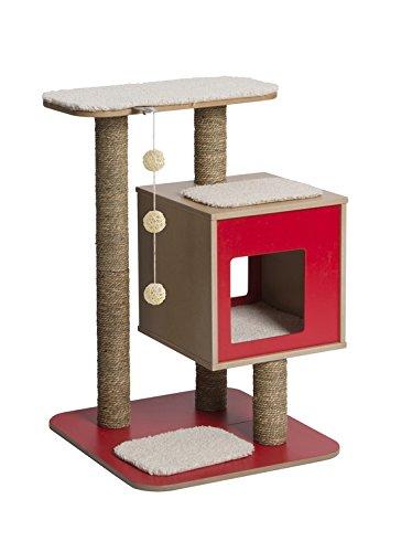 """Vesper Katzenmöbel \""""Base\"""" red - Kubus-Höhle mit einer Plattform"""