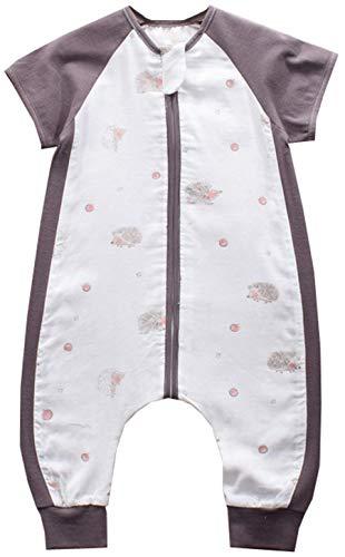 Chilsuessy Baby Sommer Schlafsack mit Füßen Mädchen und Junge Schlafstrampler Baby Sommerschlafsack Kinder Sommer Schlafanzug Kurzarm, Brauner Igel, 70/Baby Höhe 70-80cm