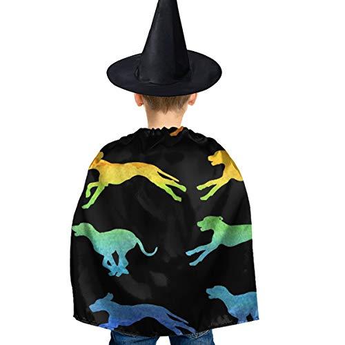 Amoyuan Unisex Kids Kerstmis Halloween Heks Mantel Met Hoed Regenboog Hond Behang Patroon Wizard Cape Fancy Jurk