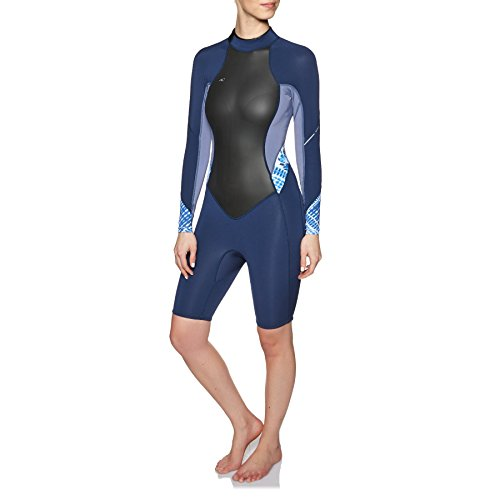 O';Neill Dames Bahia 2/1MM Lange mouw Back Zip Spring Shorty Wetsuit Wetsuit Navy Mist - Gemakkelijk stretch