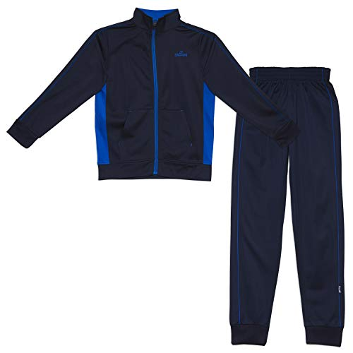 Spalding Boys Side Stripe Tricot Athletic Two-Piece Tracksuit Set Navy 10/12