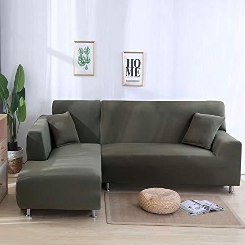 NOBCE Funda de sofá elástica Fundas elásticas Funda de sofá Todo Incluido para Diferentes Formas Sofá Silla Funda de sofá Estilo L Gris Verde 190-230CM