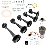 cciyu 12V Loud 5 Trumpet Musical Horn Kit with Compressor Loud Train Horn Replacement for Train Car Truck Boat RV
