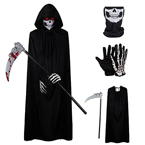 Herefun Faucheuse Halloween Déguisement, Cape à Capuchon Halloween Déguisement, Costume de Faucheuse, Halloween Cosplay Faucheuse Déguisement Enfants Squelette Costume