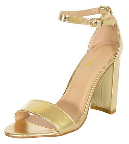 Glaze Women's Chunky Heel Ankle Strap Sandals - Open Toe Strappy Heels, Size 8, Gold'