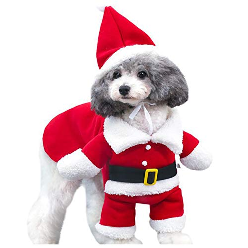 犬用サンタコスプレ 帽子付き 愛犬が可愛いサンタクロースに変身 わんちゃんのクリスマスパーティ用コスプレ服