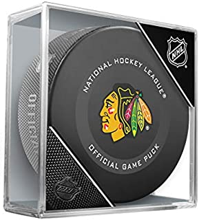 Inglasco Blackhawks Official Game Hockey Puck in Cube