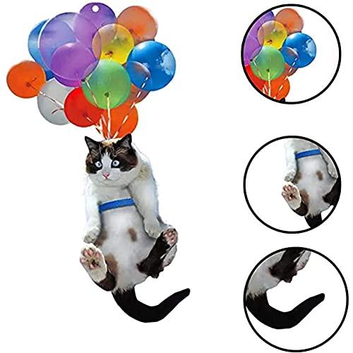 Niedliche Katze Auto Hängende Verzierung, Auto Anhänger Hängen Mit Bunten Luftballons, Tasche Anhänger Spielzeug/Autospiegel Zugangories/Car Decor Car Interior Accessories, for Women Men (Cat1)