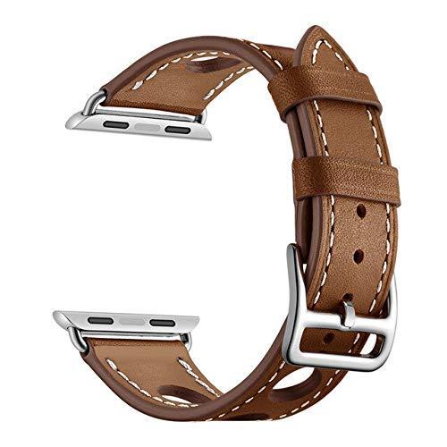 KTZAJO 2021 La última correa de cuero compatible con Apple Band 4 m 40 mm Pulseira Correa Correa compatible con Apple 5 4 3 2 1 iwatch Band 42 mm 38 mm (color: marrón, tamaño: 38 mm o 40 mm)