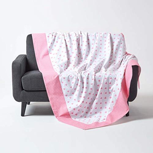 Homescapes Patchwork-Tagesdecke mit Herz-Muster, rosa, Gepunkteter Bettüberwurf aus 100% Baumwolle, 150 x 200 cm, ideal als Krabbeldecke, Babydecke
