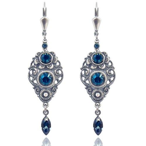 NOBEL SCHMUCK Jugendstil Ohrringe Blau mit Kristallen von Swarovski® Silber