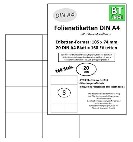 BT-Label 160 etiquetas de poliéster láser (formato 105 x 74 mm) en 20 hojas DIN A4, resistentes a la intemperie, color blanco (8 hojas por A4), autoadhesivas, imprimibles con impresora láser