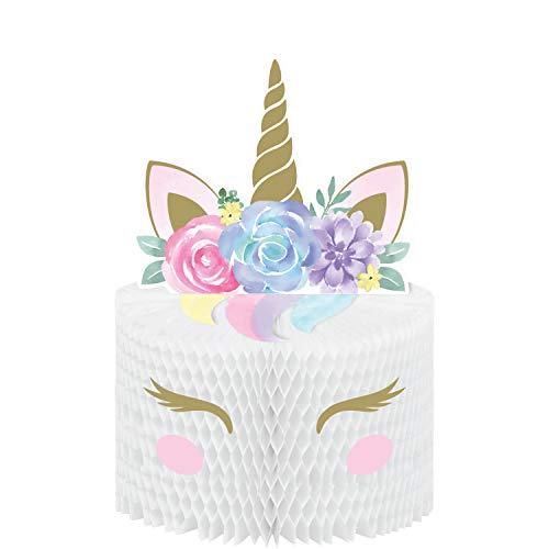 Creative Party 344425 Unicorn Baby Honeycomb - Centro de mesa (1 unidad), Multicolor