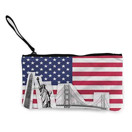 Américain Zipper Coin Pouch Zipper Storage Case Cosmetic Bags Flag Sketch State Stars