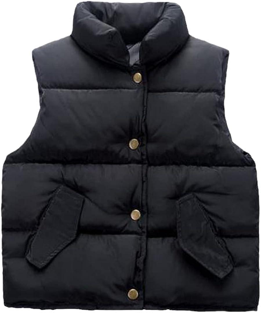 FLZS Children Outerwear Vests Solid Body Warmer Pocket Vest Thick Jacket 1-10 Year