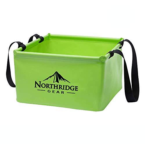 Northridge Gear Cubo Plegable Plegable en diseño Moderno   Camping Pesca Fiesta Jardín   Puede usarse como tazón de Lavado Plegable, Recipiente de Agua o Fregadero Plegable   Verde, 15L