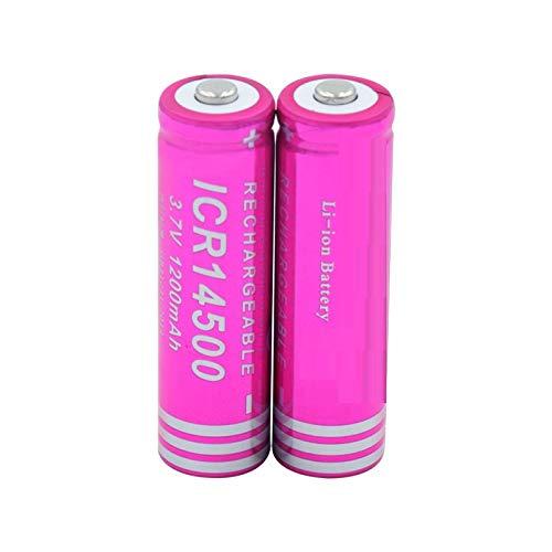 WSXYD Batería Li-Ion De 14500 3.7v 1200mah Icr 14500, Recargable para El Banco del Poder De La Linterna del Led 2pieces