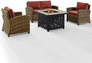 Crosley Furniture Bradenton 4 Piece Patio Fire Pit Sofa Set in Sangria