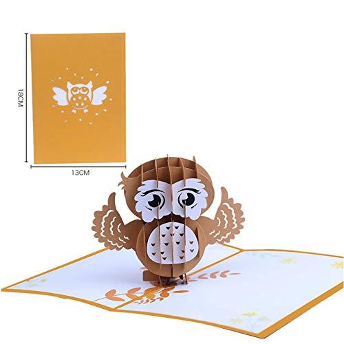 VIOYO Owl Christmas Cap Hecho a ManoOrigami 3D Pop UP Tarjetas de felicitación Tarjeta de invitación para Boda Fiesta de cumpleaños Regalo