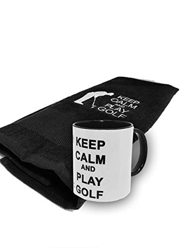 BGSP - Regalo Golf | Taza (Golf Legend | Love | Keep Calm) + Toalla para Golf con Gancho para Bolsa de Palos | Unisex Golfistas (Taza Golf Legend Blanca/Negra-Toalla Negra)