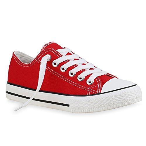 stiefelparadies Damen Sneakers Low Canvas Schuhe Turnschuhe Freizeit 134155 Rot Autol 37 Flandell